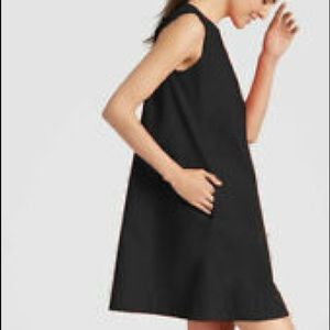 Eileen Fisher Black A-line Organic Poplin Dress